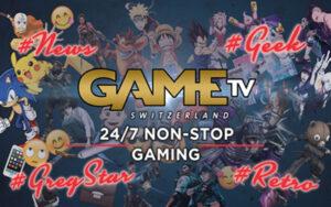 Game TV Logo mit Anime Figuren