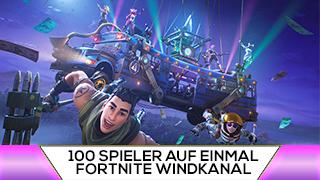 Game TV Schweiz - 100 SPIELER auf EINMAL im FORTNITE WINDKANAL (Choas)
